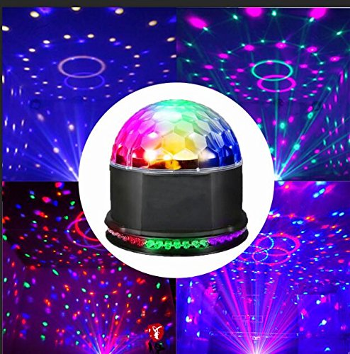 Disco Licht 48 Stobe Lights LED Party Licht Discolichteffekte 7 RGB Lichteffekt Led Effekt Kristalleffekt Disco kugel Lampe Projektor DJ Licht für Club Party - Voice Control (Kleine Disco-kugel)