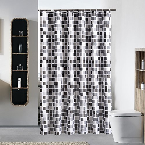 Cool Mosaic Pattern Shower Curtain Thick Mildew Waterproof Polyester Bathroom Curtain with Hooks 180x180cm