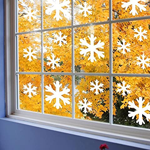 Supertogether White Snow Flake Non Marking Window Stickers - Frozen Bedroom Theme Decals (Pack of