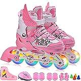 GWJ Kinder Inline Skates Einstellbare Rollerskates mit Full Light up LED-Räder, Fun Flashing Roller Skates Für Jungen und Mädchen,S