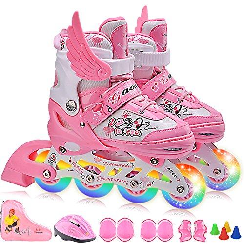 GWJ Kinder Inline Skates Einstellbare Rollerskates mit Full Light up LED-Räder, Fun Flashing Roller Skates Für Jungen und Mädchen,S (Skates Light Roller Up)
