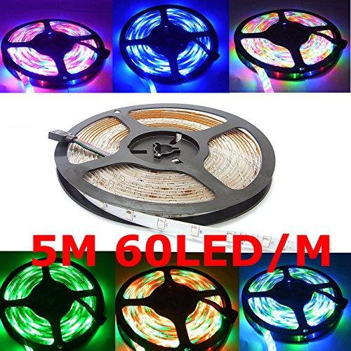 Preisvergleich Produktbild Sienoc Komplett Satz 5M RGB MEHRFARBIG 300 LED Licht Band Streifen Strip Stripe (RGB) Band Leiste mit 300 LEDs (SMD 3528) inkl. Netzteil & Fernbedienung (1 Satz RGB)