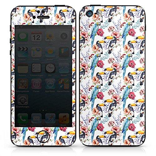 Apple iPhone SE Case Skin Sticker aus Vinyl-Folie Aufkleber Tucan Papagei Blumen DesignSkins® glänzend
