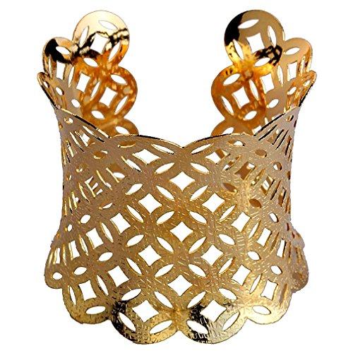 Yazilind Gold überzogene Tier Klapp Stulpe Armband Eule Chunk Vogel Armband Breite:2.6 in Einstellbare