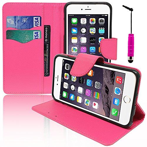 VCOMP® Kunststoff Handy Brieftasche mit Kartenfächer und Video-Standfunktion für Apple iPhone 6/ 6s + Großer Eingabestift - WEISS PINK + Mini Eingabestift