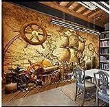 Apoart 3D Papier Peint Mur De Fond De Mur De Pirate Original Vintage Carte Nautique Rétro 450Cmx300Cm