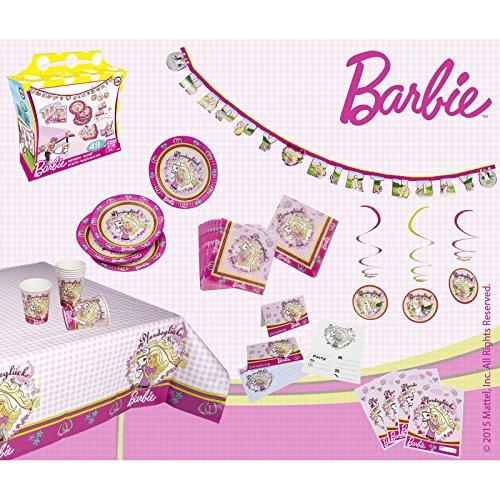 im Barbie Design mit viel Zubehör für 6 Personen • Party Set Geburtstag Dekoration Kinderparty Kindergeburtstag Motto ()