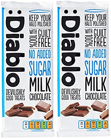 x2 Diablo Sugar Free Milk Chocolate With 100% Guilt Free 85g