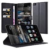 Cadorabo Hülle für Huawei Ascend P8 Max Hülle in Phantom schwarz Handyhülle mit Kartenfach & Standfunktion Case Cover Schutzhülle Etui Tasche Book Klapp Style Phantom-Schwarz