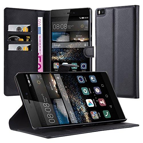 Cadorabo Hülle für Huawei Ascend P8 Max Hülle in Phantom schwarz Handyhülle mit Kartenfach und Standfunktion Case Cover Schutzhülle Etui Tasche Book Klapp Style Phantom-Schwarz