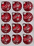 """12 tlg. Glas-Weihnachtskugeln Set in """"Classic Rot Silber"""" Komet- Christbaumkugeln - Weihnachtsschmuck-Christbaumschmuck"""