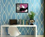 QXLML Tapete moderne einfache Kurve vertikale gestreiften Vliestapete Modell Zimmer Wohnzimmer TV Hintergrundbild 10 * 0,53 (M) ( Color : Blau )