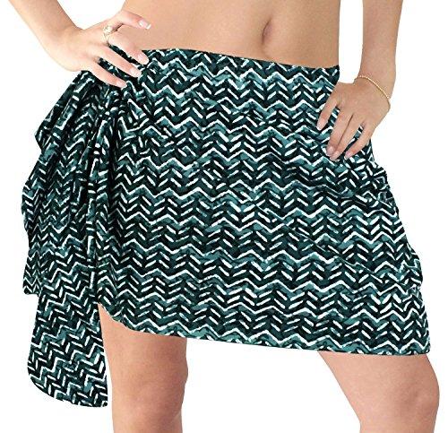 La Leela aus 100% Baumwolle Zick-Zack erkunden Wrap Bikini Sarong Frauen 78x21 Zoll grün (Zick-zack-gedruckt Kleid)