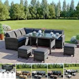 9 Seater Rattan Corner Garden Sofa & Dining Set Furniture Black Brown Dark MixedGrey Outdoor Protective Cover Included (Dark Mixed Grey With Dark Cushions)
