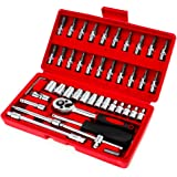 46pcs 1/4-Inch Socket Set Mechanics Tools Kit Key Hand Tool Set Spanner Wrench Wrenches Garage Tools Ratchet Torque Wrench Co