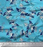 Soimoi Blau Seide Stoff Blätter handgemalt Stoff Meterware