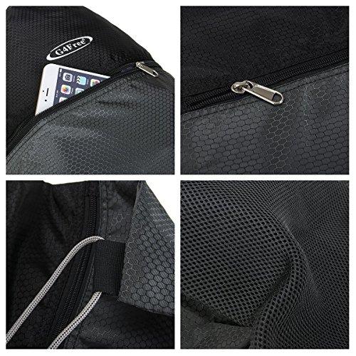 G4Free Unisex Rucksack Gym Sack Sporttasche Turnbeutel für Shopping Yoga Laufsport (Schwarz) Schwarz und Grau