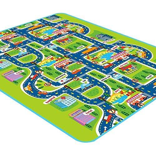 Ritapreaty Tappeto da gioco per bambini con auto e giocattoli tappetino educativo per il traffico stradale