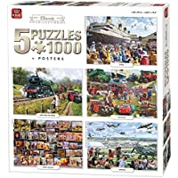 King 5 in 1 Classic Collection Jigsaw Puzzles - 5 x 1000 Pieces & Posters Included