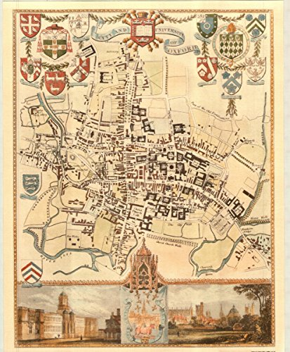 Oxford Innenstadt-Antike Weltkarte-- Karte, 50.80 x 40.64 cm - County England-antik-karte