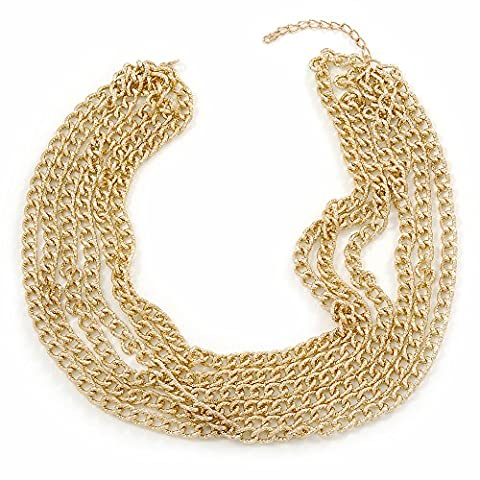Gold Tone Multistrand Textured Oval Link Necklace - 45mm L/