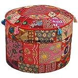 indien rond Patchwork brodé Ottoman Pouf Bohème indien décoratif Patchwork Ottoman Pouf, salon vintage Pouf Taille 33x 45,7x 45,7cm à motif Ottoman Tabouret Housse de pouf, Home Decor