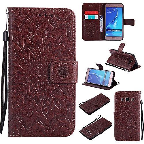 Für Samsung Galaxy J510 Fall, Prägen Sonnenblume Magnetische Muster Premium Soft PU Leder Brieftasche Stand Case Cover mit Lanyard & Halter & Card Slots ( Color : Green ) Brown