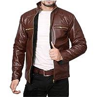 CRAPGOOS Dark Brown Pu Faux Leather Jacket for Men