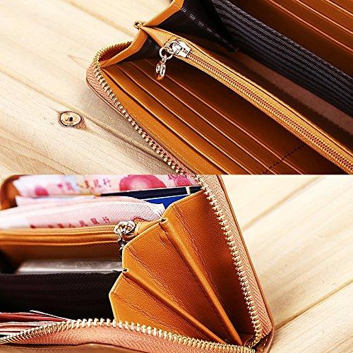 Artemis'Iris Womens mano tessuto Portafoglio grande capacità Zipper Card Phone Holder frizione multifunzione borsa della borsa, oro green