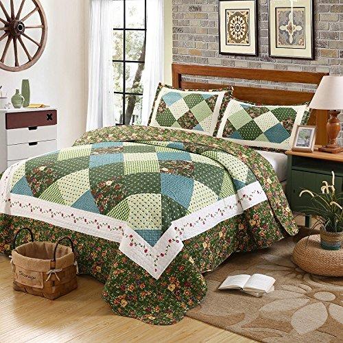 Beddingleer Lujoso Colcha de Patchwork Colcha de Piqué Verde Oscuro Vintage Floral Jacquard Impreso Patchwork Juegos de 3 piezas,230 cm x 250 cm