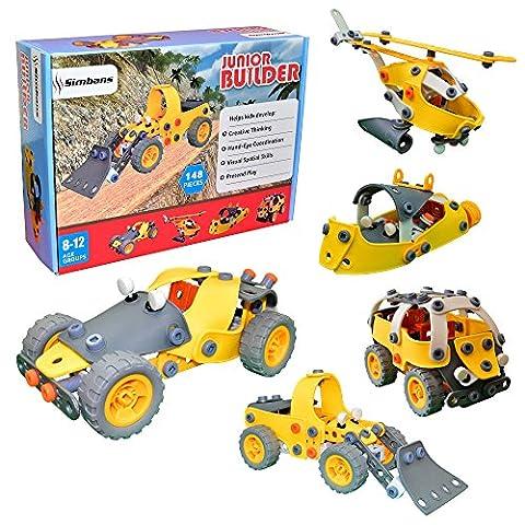 [Sac de jouet Bonus] Junior Builder 148 pièces Ensemble de jouets de génie de construction flexible pour 8, 9, 10+ adolescent garçons ou filles; Kit de jeu éducatif créatif - Meilleur cadeau pour enfants