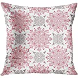 Throw Pillow Cover Flower Abstract Arabic Pattern Indian Japanese Motifs Mandala Ethnic Bohemian And Red Arabesque Decorative Pillow Case Home Decor Square 18x18 Inches Pillowcase