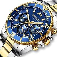 Relojes Hombre Relojes Grandes de Pulsera Militares Cronografo Diseñador Luminosos Impermeable Reloj Hombre Deportivos de Acero Inoxidable Plata Analogicos Fecha