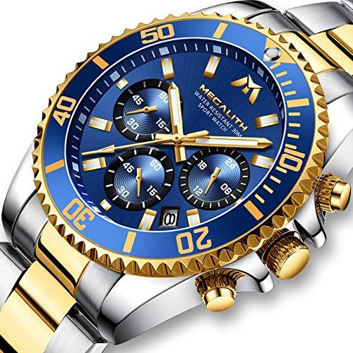 Montre Homme Montres Bracelets Etanche Luxe Design Chronographe Lumineuses Classique Montres en Acier Inoxydable Or Grand Cadran Bleu Date Analogique Robe Mode