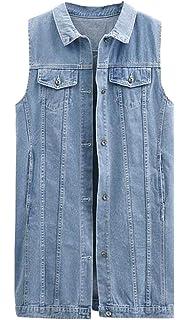 9964f4937883 Jeans Gilet Femme Longues Vintage Mode Grande Taille Jean Vestes sans  Manches Vêtements Revers Large Désinvolte