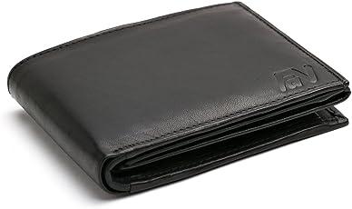 Fa.Volmer Schwarze Herren Ledergeldbörse aus echtem Leder Querformat #SQ90