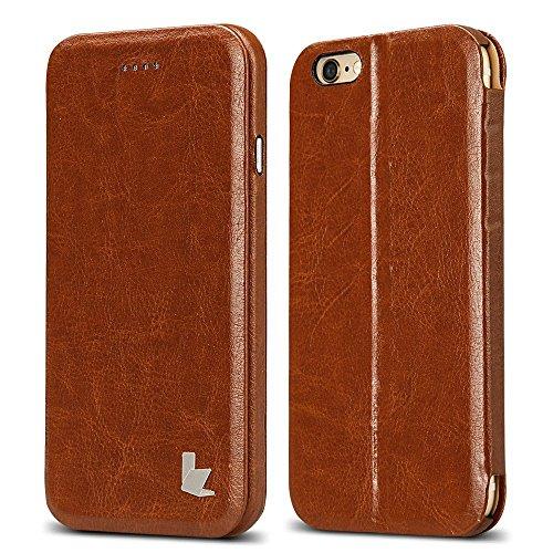 JISONCASE ELEGANT Tasche für iPhone 6 /6s in Braun Hülle Ultra-schlanke Flip Case Handyhülle Taschen mit Aufstellfunktion Handytasche Schutzhülle JS-I6S-05M20 - Vertikal Leder Iphone Case 6