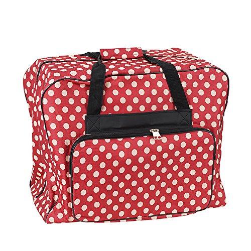 Nähmaschinen Tasche XL (rot/creme gepunktet) (Tasche Quilt)