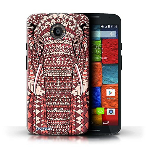 Kobalt® Imprimé Etui / Coque pour Motorola Moto X (2014) / Tigre-Rouge conception / Série Motif Animaux Aztec éléphant-Rouge