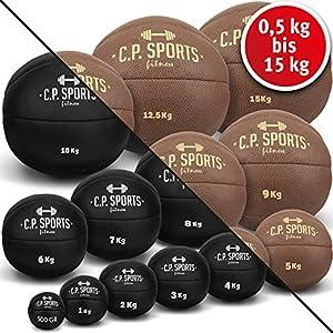 C.P.Sports Medizinball Leder Schwarz oder Braun, Gewichtsball, Medizinbälle, Wallball, Crossfit Ball – 0,5 kg, 1 kg, 2 kg, 3 kg, 4 kg, 5 kg, 6 kg, 7 kg, 8 kg, 9 kg, 10 kg, 12,5 kg bis 15 kg