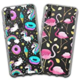 jrester 2 X Coque Huawei Honor 8A / Y6 2019,Donut Licorne + Flamant Rose Souple...