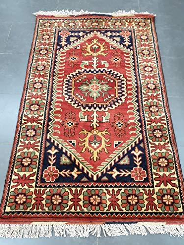 Market centre - tappeto tradizionale afgano fatto a mano, in lana, multicolore, 128 x 80 cm
