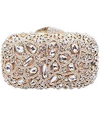Damen Clutch Abendtasche Handtasche Geldbörse Schick Strass Kristall Schwan Lang Tasche mit wechselbare Trageketten von Santimon Gold Santimon