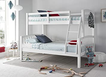 Happy Beds American Triple Sleeper Bunk Bed White Wooden Kids Bedroom Furniture Frame Only 3 Single Top 90 X 190 Cm And 4 Small Double Bottom 120