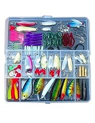 JOYOOO 133 Pcs artificielle Leurre Set dur leurre souple Minnow Cuillère de pêche