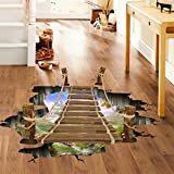 IGEMY 3D Bridge Floor Wall Stickers Removable Mural Decals Vinyl Art Living Room (Multicolor)