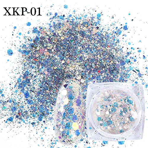 1pcs Holographic Nail Glitter Powder Broken Sequins Thin Flakes Nail Paillette Sparkly Gel Polish Manicure Decoration SAXKP01-12 XKP01