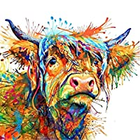 ZHOUBA Colorful Cow Canvas Painting Wall Art Pictures Living Room Bedroom Home Decor 60 * 60cm