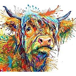 Lsgepavilion coloré Vache sur Toile Peinture Murale Art Déco Salon Home Decor, Couleur 1#, 60 * 60cm
