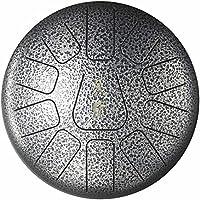 Tambor de Lengua Acero Tambor de Mano 10 pulgadas 11 notas de instrumento de percusión de percusión manual con bolsa de viaje acolchada y regalo perfecto para la meditación personal,yoga tratamiento de sonido Plata